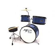 Mega Drums JUNIOR Azul 3 Cuerpos Bombo 14x9 Tom 10x5 Tom 8x5 Plato 8 Bateria Infantil