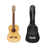 TEXAS CG20-17A-NAT c/Funda Guitarra Electroacustica Nylon