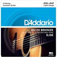 DADDARIO EJ36 - Bronze 80/20 12-String - 10/47 Light
